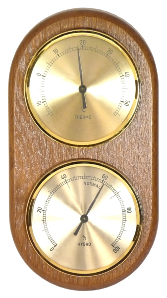 Thermometers and Hygrometers etc : Cellar Thermometer & Hygrometer on Wood Plaque