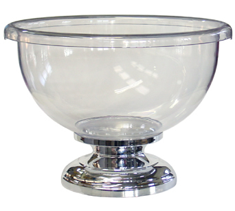 Wine Coolers, Champagne & Wine Buckets etc : Champagne Bowl (Clear Acrylic - Chromed Base)