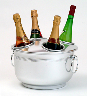 Wine Coolers, Champagne & Wine Buckets etc : Champagne Cooler - 4 holes (Aluminium)