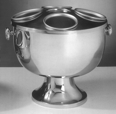 Wine Coolers, Champagne & Wine Buckets etc : Champagne Cooler with Foot - 4 Holes - Knob handles (Stainless Steel)