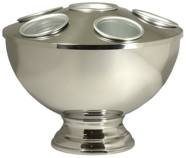 Wine Coolers, Champagne & Wine Buckets etc : Champagne Cooler with Foot - 6 Holes (Stainless Steel)