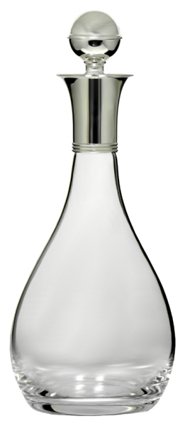 Decanters : Decanter with Silver Plated Mount and Stopper (Bottle) - Mouth Blown