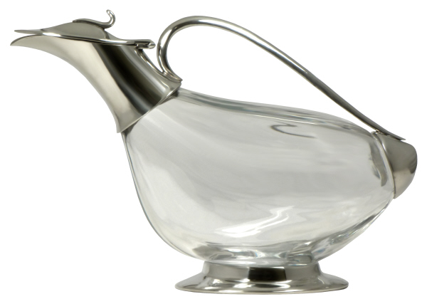 Christmas Gift Ideas : Duck, Pewter and Crystal  Decanter (Bottle) - Mouth Blown