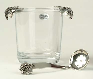 Ice Buckets : Ice Bucket - Glass With Pewter Grape Handles
