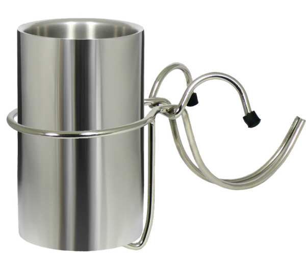 Wine Coolers, Champagne & Wine Buckets etc : Insulated Bottle Cooler (Polished Stainless Steel) with Table Clamp