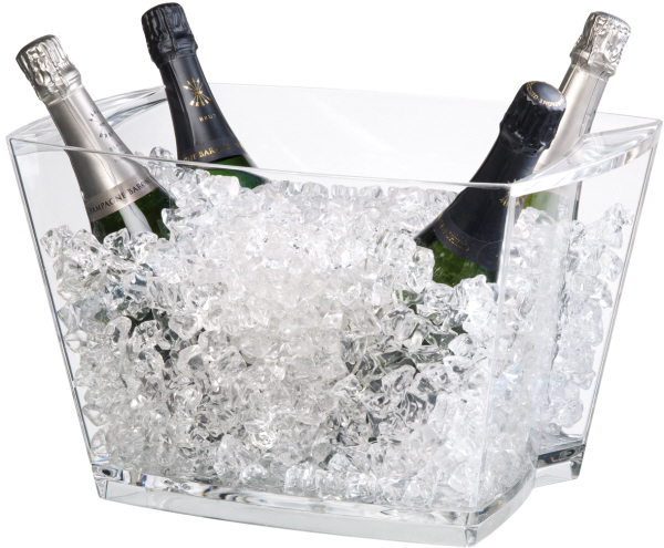 Wine Coolers, Champagne & Wine Buckets etc : Large Cubi Wine Bucket Clear Plastic - 6 bottles