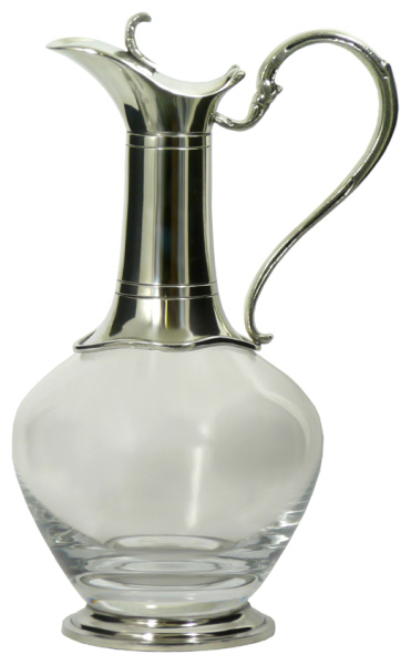 Christmas Gift Ideas : Claret Jug -  Pewter Base and Mount (Bottle) - Mouth Blown