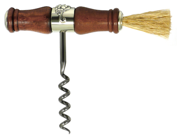 Hand Held Corkscrews : Corkscrew with a Wood and Pewter Handle and Brush