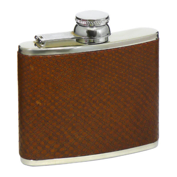 Hip Flasks & Funnels : Hip Flask - Leather Captive Top (4 ounce)