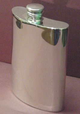 Hip Flasks & Funnels : Hip Flask Pewter - Rectangular 4 oz