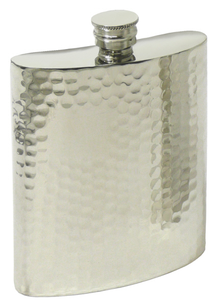Christmas Gift Ideas : Hip Flask Pewter - Rectangular - Hammered 4oz