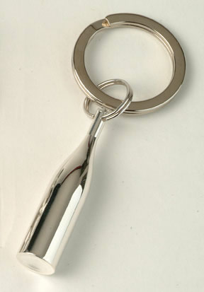 Gift Ideas : Key Ring - Wine Bottle Silver Plate