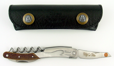 All Corkscrews : Laguiole corkscrew with Clef du Vin in presentation wallet (Oak Barrel)