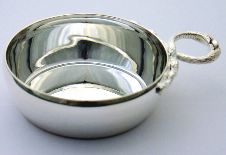 Tastevins and Quaiches : Plain Tastevin with Serpent Handle (Hallmarked Silver)