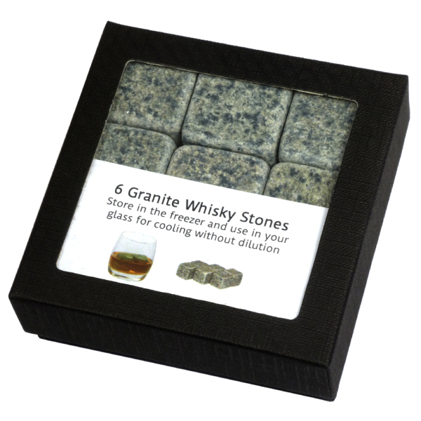 Christmas Gift Ideas : Scottish Granite Whisky Stones (1 x Box of 6 Stones with Storage Pouch)