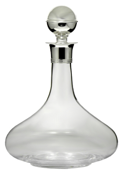 Decanters : Ships Decanter with Silver Plated Mount and Stopper ( Bottle) - Mouth Blown
