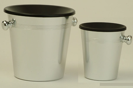 Wine Tasting Accessories : Spittoon Bucket Aluminium & Black Plastic(Standard Size)